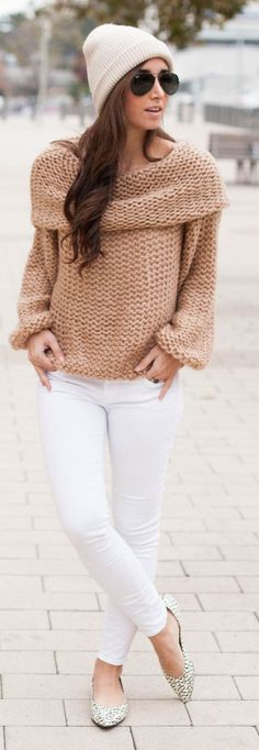 Blush Chunky Knit Boat Neck Sweater