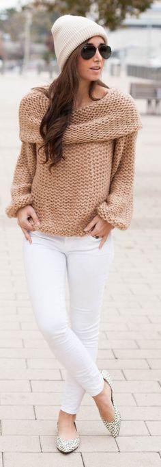Blush Chunky Knit Boat Neck Sweater