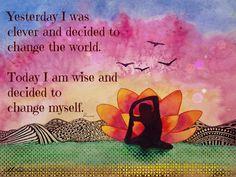 The Yoga Art of Ellen Brenneman Changing Myself 16x20 Canvas $119 @ www.downdogboutique.com #YogaHome #Yoga #YogaArt