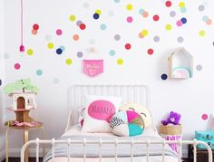 Always looking for new and fresh ways to update girls rooms and here are 10 ideas to help inspire you! 1. How much fun is this beautiful and colorful space by the ever so talented @fourcheekymonkeys ? All of the colors and patterns work so well and our tiny hand drawn dot decals really help break up the dark wall. 2. Reaching for the stars has never been so easy when you have a clever mama like @amandaeskridge . She took our Scattered Stars decal and truly made a magical wall for...
