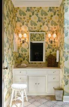 love the vintage wallpaper done with modern fixtures