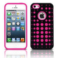 iPhone 5/5S - Two-Piece Polka Dot Hybrid Soft Cover Cases - Thumbnail 1