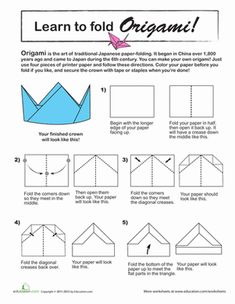 Third Grade Paper Projects Worksheets: Origami Crown
