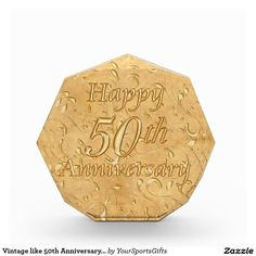 Gorgeous Vintage look Golden Wedding Anniversary presents.  Vintage 50th Anniversary Presents Award CLICK HERE: http://www.zazzle.com/vintage_like_50th_anniversary_presents_award-256566420622648303 Subtle antique looking background with lovely golden Happy 50th Anniversary message. Choose these golden anniversary presents in 3 sizes, Small, Medium and Large, multifaceted acrylic award for the best 50th wedding anniversary gifts. Call us for design changes and help: 239-949-9090