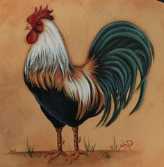 Hand Painted French Country Rooster on a repurposed by JCandmeArt