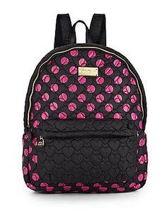 Betsey Johnson Tie The Knot Polka Dot Backpack - Black - Fuchsia - Siz