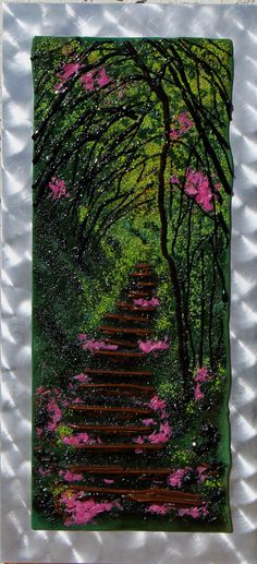 Pathway on the trail.  Fused glass using various mediums of glass and numerous kiln firings to give the texture and depth of the landscape.