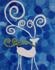 """Raindeer Blue Swirl"" created for Paint Nite by Alegha Reott Christmas Paintings On Canvas, Holiday Canvas, Christmas Rock, Christmas Crafts, Diy Canvas, Canvas Art, Canvas Ideas, Diy Cadeau Noel, Halloween Painting"