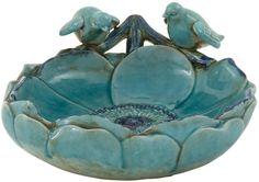 "Bayden Hill Ceramic Bird Basin 14""W, 6""H"