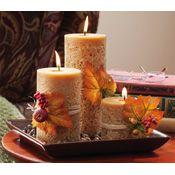 Autumn Harvest Cinnamon Scent Pillar Candlescape