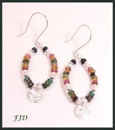 Gemstone and Silver Earrings