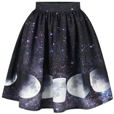 Galaxy Moon Starry Sky Print Skirt (€13) ❤ liked on Polyvore featuring skirts, bottoms, blue skirt, print skirt, galaxy skirt, galaxy print skirt and patterned skirts