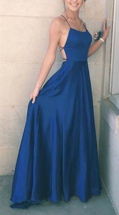 2018 straps navy blue long prom dress, simple long prom dress, party dress 2018 Long Sleeve Gold Prom Dresses,Long Evening Dresses,Prom Dresses On Sale Want a glamorous red c Simple Prom Dress, Simple Dresses, Elegant Dresses, Pretty Dresses, Sexy Dresses, Long Formal Dresses, Casual Dresses, Long Party Dresses, Satin Formal Dress