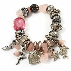 Vintage Beaded Charm Flex Bracelet (Antique Silver & Pale Pink) Avalaya. $15.75. Type: bead jewellery, chunky, stretchy. Wear On: wrist. Style: vintage. Metal Finish: antique silver. Occasion: casual wear