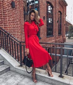 aesthetic red Magnificent Trendy Red Dress You Like This * Page 1 of 8 Classy Outfits, Chic Outfits, Fashion Outfits, Womens Fashion, Red Dress Outfit, Dress Outfits, Outfit Night, Dress Shoes, Shoes Heels