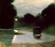 Clarice Beckett, Wet Evening, Great painting, wish I had a larger version Australian Painters, Australian Artists, Nocturne, Abstract Landscape, Landscape Paintings, Illustration Art, Illustrations, Paintings I Love, Painting & Drawing