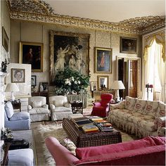 The private Blue Drawing Room at legendary Chatsworth in Derbyshire, England…