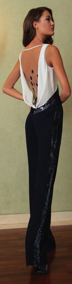 Georges Chakra - Love The Detailed Yet Subtle Embellished Sparkles On This Glamorous Pantsuit -ShazB
