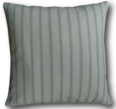 Cushion cover in Laura Ashley Farnworth Stripe Hedgerow Green Reversible zip Green Cushions, Striped Cushions, Cushion Covers Uk, Laura Ashley, Traditional House, Soft Furnishings, Bed Pillows, Country Living