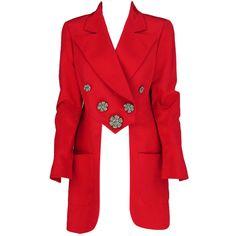 Karl Lagerfeld coral redingote style jacket at 1stdibs ❤ liked on Polyvore