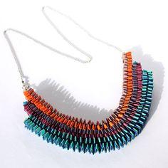 Statement necklace // Colorful contemporary jewel // por gasometri, €22.90