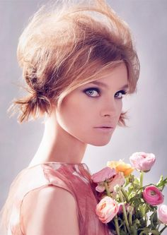 Natalia Vodianova perfect make-up by Steven Meisel, blush pink