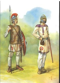 late Roman infantry, displaying the radical change in gear from the more recognizable style from the latter half of the first century. It looks like this soldier has a later model Pilum, redesigned for easier use as a spear.