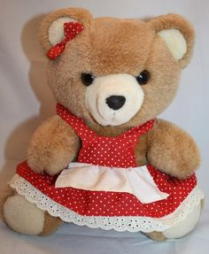"Brown Plush Bear Red Off White Polka Dot Dress Apron Bow 9"" VTG Stuffed Animal"
