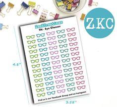 Eye Glasses Planner Stickers   Traveler's Notebook  Foxy
