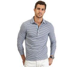 Long Sleeve Striped Deck Polo Shirt