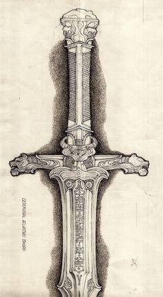 """Ron Cobb - """"Conan the Barbarian"""" Fantasy Sword, Fantasy Weapons, Fantasy Rpg, Fantasy Artwork, Fantasy Movies, Armes Concept, Conan Der Barbar, Conan The Barbarian Comic, Sword Drawing"""