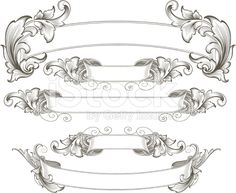 Intricate Engraved Banners royalty-free stock vector art