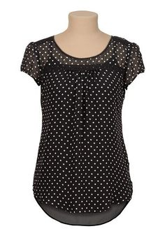 high-low chiffon dot print blouse with lace
