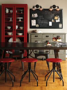 Rejuvenation's Red Industrial Stools