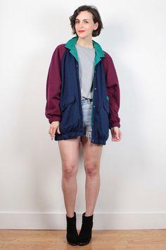 Vintage 1980s REVERSIBLE Sweatshirt and Windbreaker Jacket Teal Green Navy Blue Burgundy Red Bomber Jacket Sporty 80s Wind Breaker M L Large #vintage #etsy #1980s #80s #windbreaker #sweatshirt #reversible #bomberjacket