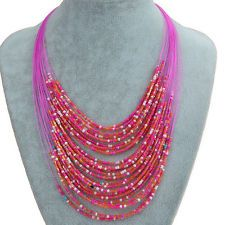 Honorable Multi Layer Glass Beads Thread Bib Statement Necklace Pendant S216H