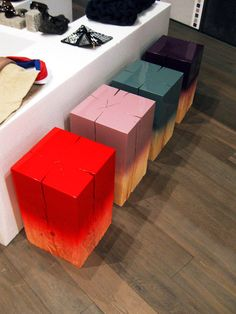 ombre painted wood pieces by Judith Seng - These are neat. Would lovely side tables. Also, would look neat stacked. Wonder how hard it would be to make some? I'd probably leave out the cracks.