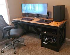 Good Gaming Desk, Gaming Setup, Desk Setup, Corner Desk, Monitor, Smartphone, Tech, Construction, Interior Design