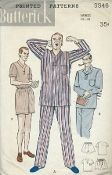 An original ca. 1950's Butterick pattern 5546.  Men's Pajamas: Short or Long Trousers. Comfortably fitting, smartly styled two-piece pajamas. (A) Boxy top with long sleeves, no collar. Draw-string trousers. (B) Notched lapel collar on this version. (C) Short pajamas version for warm weather; short-sleeved top.