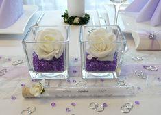 Lila Tische zur Hochzeit - Streudeko und Windlichter unter http://www.tischdeko-online.de