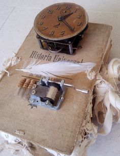 altered book#book cover#vintage album#mixed media#assemblage#scrapbook# vintage clock#mixed media inspiration