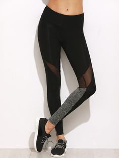 Shop Color Block Mesh Insert Leggings online. SheIn offers Color Block Mesh Insert Leggings & more to fit your fashionable needs.