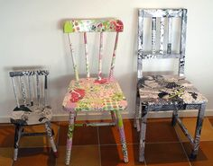 i wonder what my husband would do if i mod podged all our ugly kitchen table chairs.