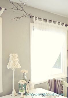 12 Homemade Window Treatments that Are Pretty Dang Fabulous Branch Curtain Rods, Hanging Curtain Rods, Unique Window Treatments, Farmhouse Window Treatments, Cute Curtains, Tab Curtains, Burlap Curtains, Unique Curtains, Cotton Curtains