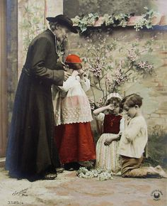 French Antique Unused Postcard   Children Stealing by ChicEtChoc, $5.50