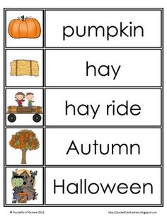 35 fall themed words that can be used on a word wall or pocket chart for a varieity of activities! Preschool Word Walls, Fall Preschool, Kindergarten Writing, Kindergarten Literacy, Classroom Activities, Montessori Elementary, Teaching Reading, Bilingual Kindergarten, Elementary Teaching