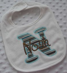 Personalized gift Bib with Appliqued INiTiaL