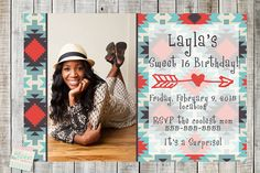 Coupon Code - REPIN10 for 10% off Sweet 16 Birthday Aztec Tribal print Photo Printable Custom Invitation  JPG PDF file invites Arrow Birthday party supplies Girls Teen Tween invite $12.99