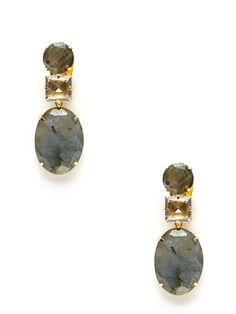 Bounkit, Labradorite Oval Drop Earrings -  round and oval-shaped earrings with clear quartz and labradorite removable drop details --- Love the concept of the lower large stone being removable to create two looks from one pair of earrings.