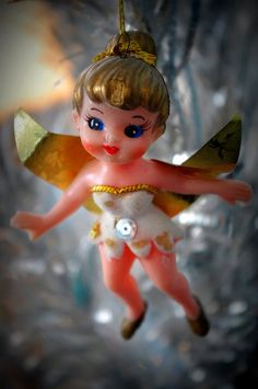 vintage angel pixie ornament